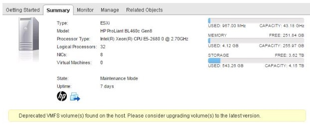 Deprecated VMFS Volumes found on ESXi six. 0