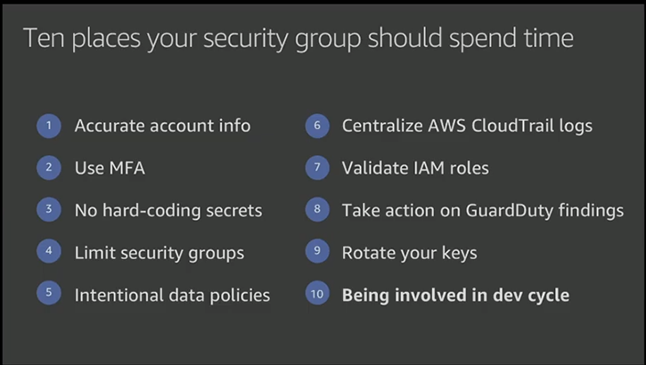 Top 10 security items to improve in your AWS account
