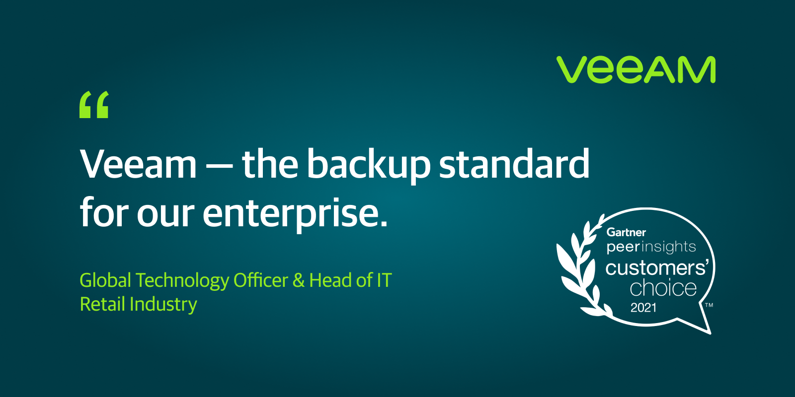 Veeam Recognized as the 2021 Gartner Peer Insights Customers' Choice within the info Center Backup and Recuperation Solutions market