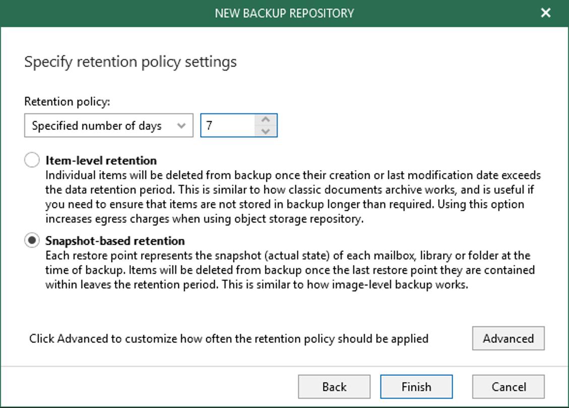 Veeam Back-up for Microsoft Office 365 retention explained