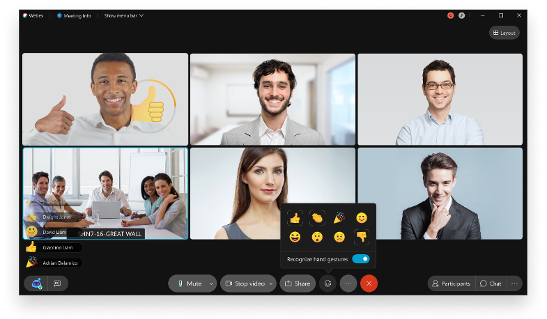"Many people are ""in"" with Webex Gestures"